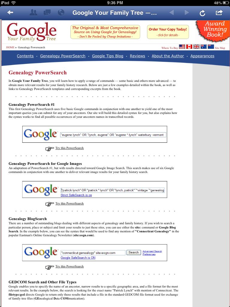 Using Google for genealogy research (2 of 2) Genealogy