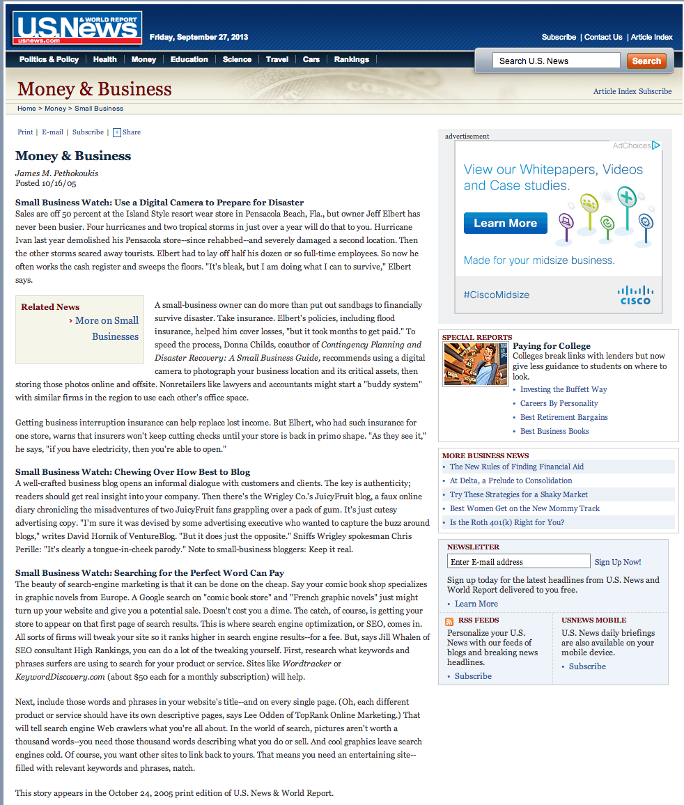US News & World Report - Small Business Watch: Searching for the Perfect Word Can Pay. Article quoting TopRank Online Marketing CEO, Lee Odden:   Next, include those words and phrases in your website's title--and on every single page. (Oh, each different product or service should have its own descriptive pages, says Lee Odden of TopRank Online Marketing.)