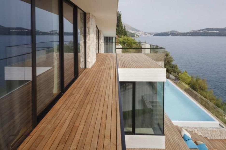 Stunning V2 House In Dubrovnik Exterior For Balcony Design With Wooden Deck Flooring And Glass Fence Decoration Ideas In Modern Style
