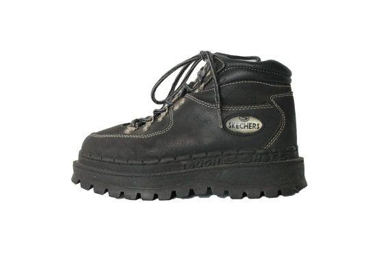 90s Chunky Platform Black Leather Boots