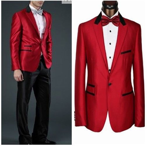 CUSTOM MADE MEN SUITS,red jacket   black collar & pocket edge