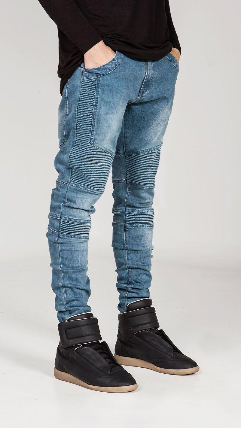 0fdaf620 Hi-Street Mens Ripped Rider Biker Jeans Motorcycle Slim Fit Washed Black  Grey Blue Moto Denim Pants Joggers For Skinny Men AY724