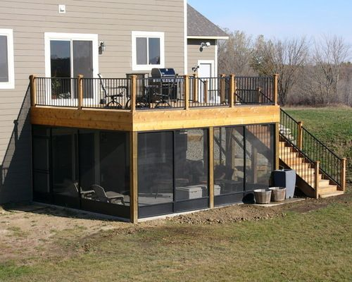 Screen Porch Deck Home Design Ideas Pictures Remodel And Decor Screened In Patio Patio Under Decks Decks And Porches