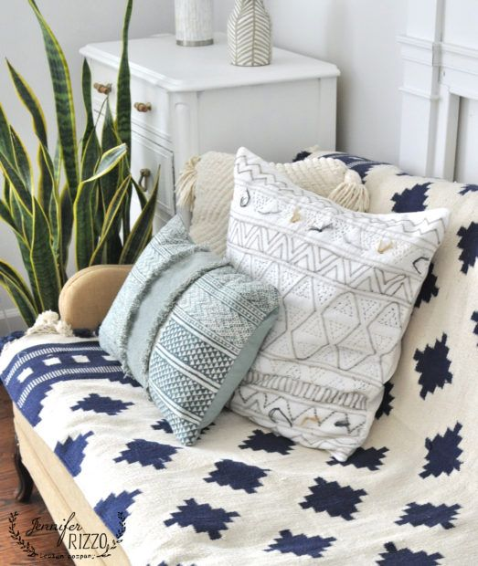 Use Awoven Throw Rug As A Couch Covering To Add Color And Texture Inexpensively