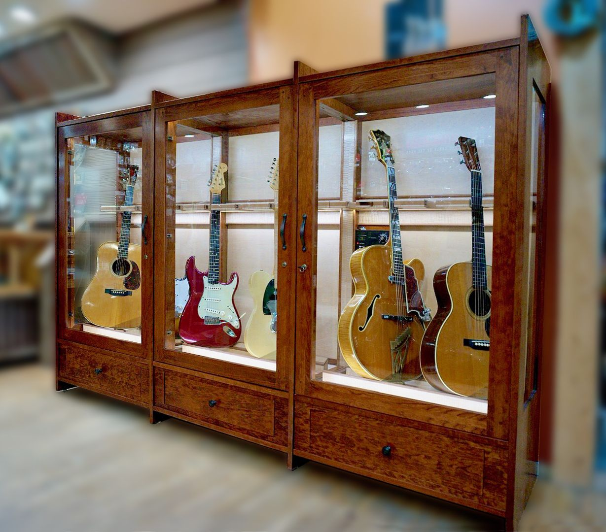Humidity Controlled Guitar Cabinet Music Furniture Guitar Display Case Cabinet