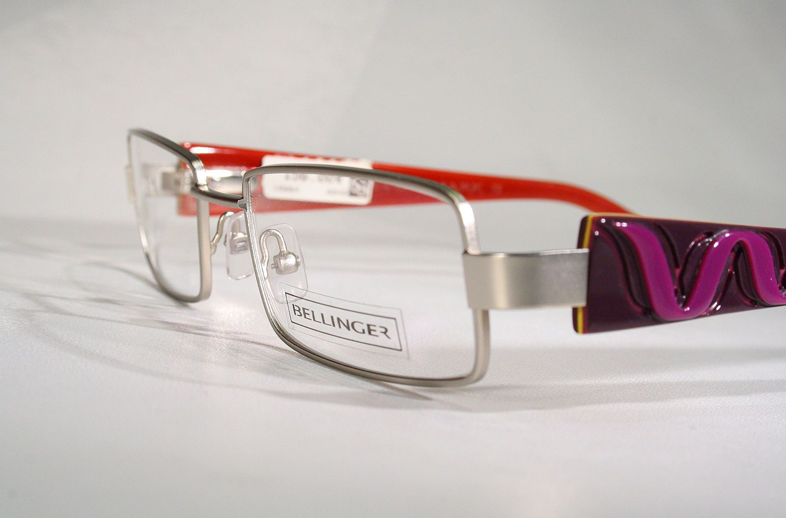 3a9413597f BELLINGER Satin Silver Nordic Eyeglass Frames Glasses with Monstrous  Looking Lilac Snap-On Temples