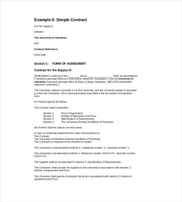 Simple Contract Template Free   Simple Contract Template And
