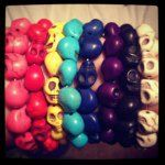 I love the colourful skull bracelets! I need them all! #skulls #bracelets #colourful