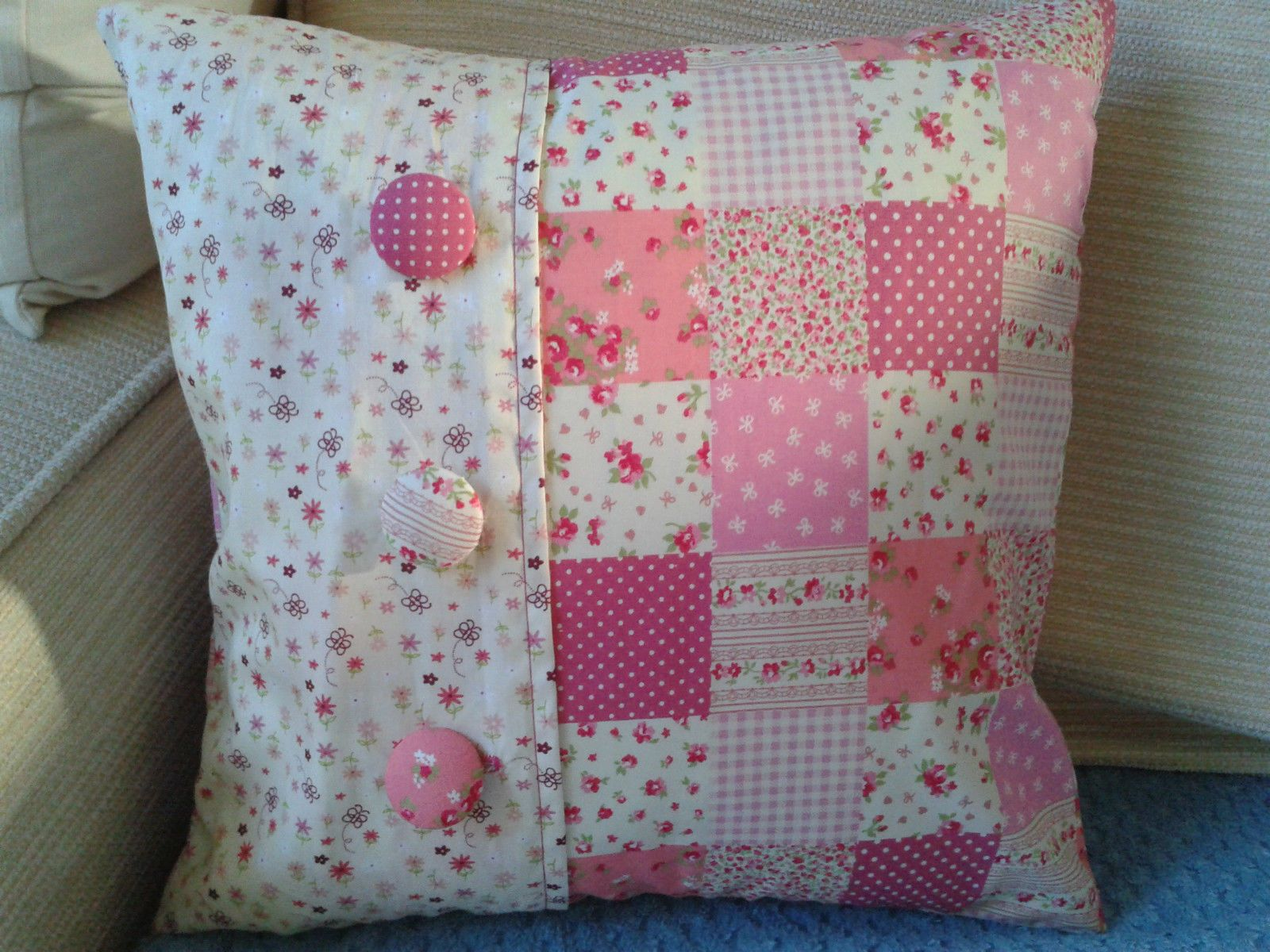 Handmade pink ditsy floral patchwork shabby chic cushion cover 14
