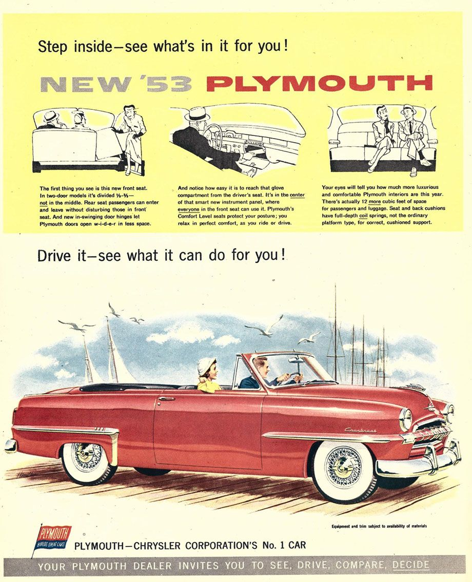 1953 Plymouth Cranbrook Convertible Club Coupe Plymouth Cars Car Advertising Vintage Car Ads