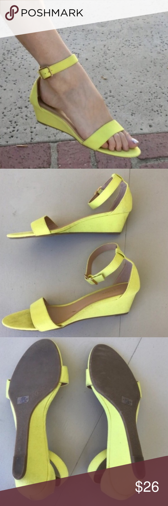 0ac8c3b2334 Yellow low WEDGE SANDAL STRAPPY Sz 9 faux suede So pretty! BEST ...