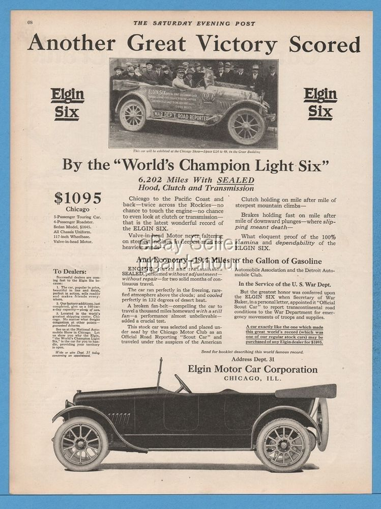 1918 Elgin Motor Car Corp Chicago IL WWI US War Department Six ...