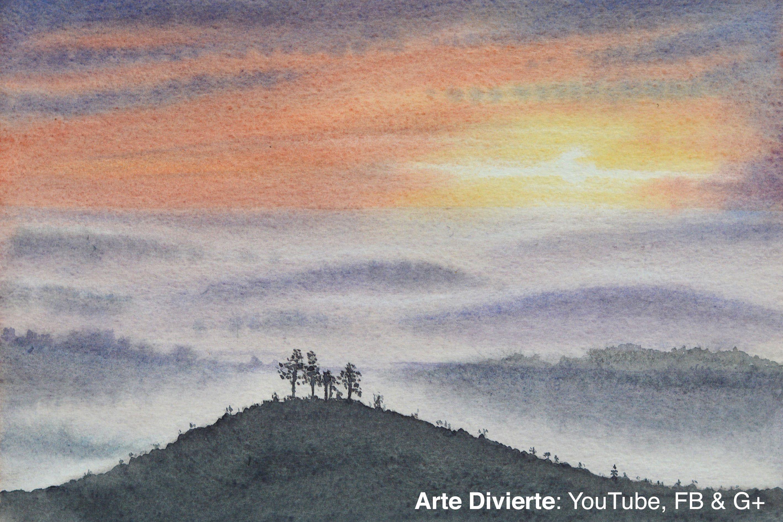 Cómo pintar un atardecer en acuarela - Paisaje, colinas ...