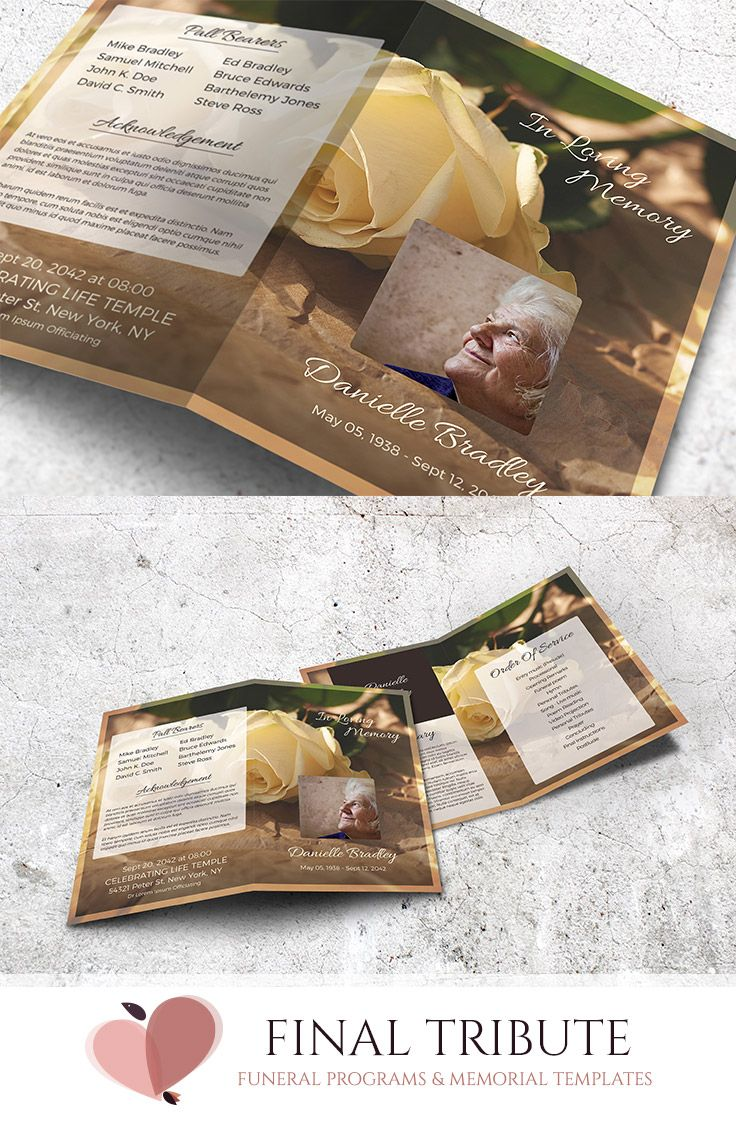 Peace And Serenity A Vintage Yellow Rose Funeral Program Funeral Programs Funeral Program Template Program Template