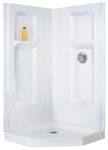 Mustee Durawall Corner Shower 42 In X 42 In X 72 In Three Piece