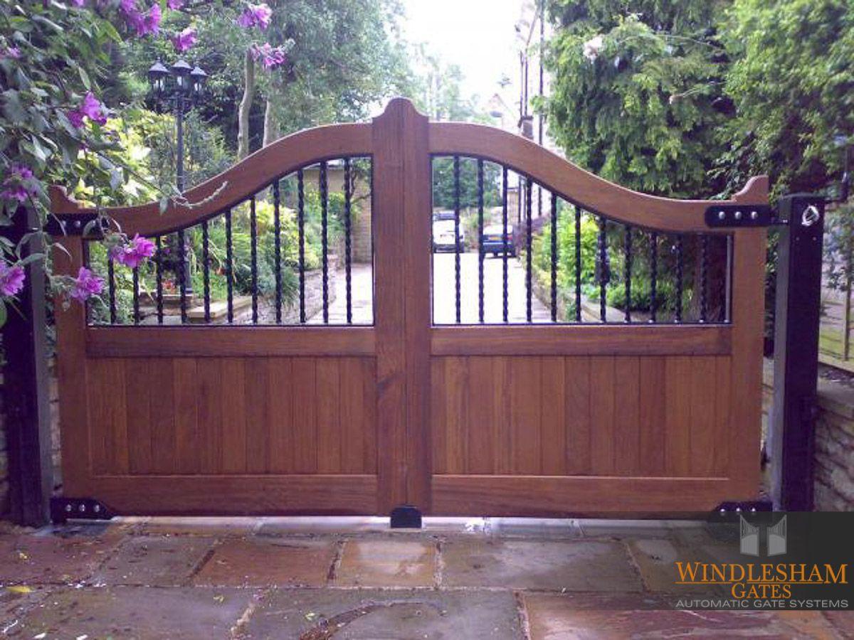 Wooden Swing Gate With Metal Insert Design Windleshamgates