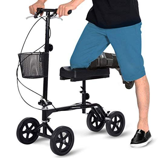 walker roller chair 2 seat theater chairs giantex steerable foldable knee scooter turning brake basket drive cart black with steel review