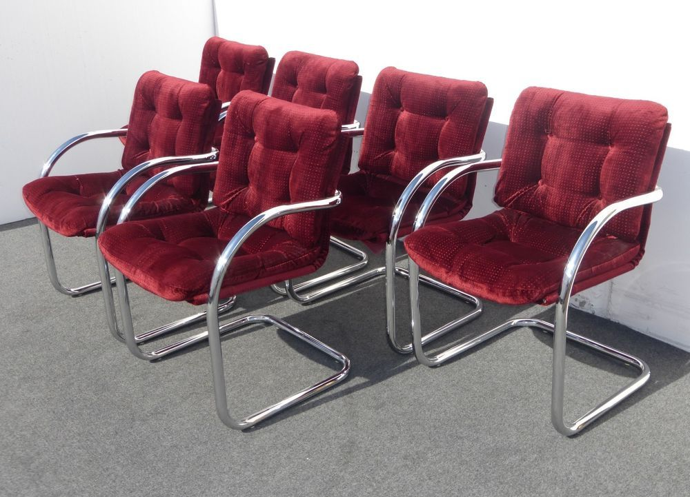 Set Six Mid Century CHROME CANTILEVERED CHAIRS Dining 1970 ...