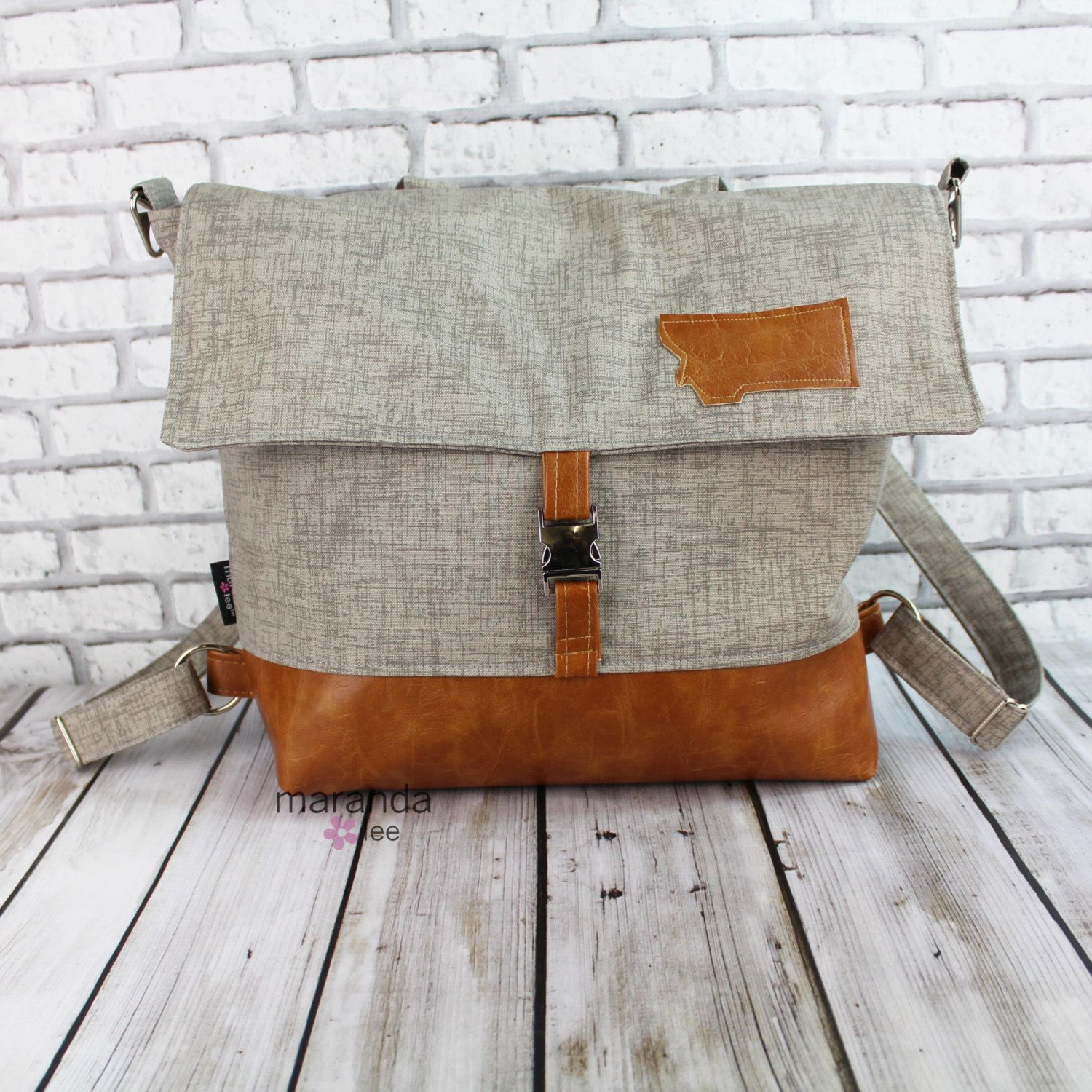 Lulu Large Flap Backpack - Grey Denim and PU Leather  Travel Business Nappy Bag Stroller Attachment by marandalee on Etsy