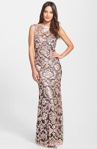 Free shipping and returns on Tadashi Shoji Sequin Lace Mermaid Gown ...