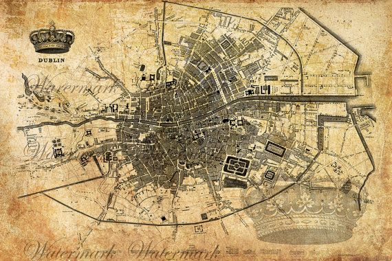 Digital Image Download Sheet Old Map Of Dublin Set Transfer To - Old riga map