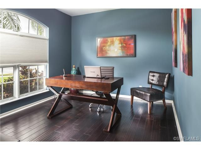 enchanting home office wall colors blue | Blue home office - dark wood floors - Laurel Lakes in ...