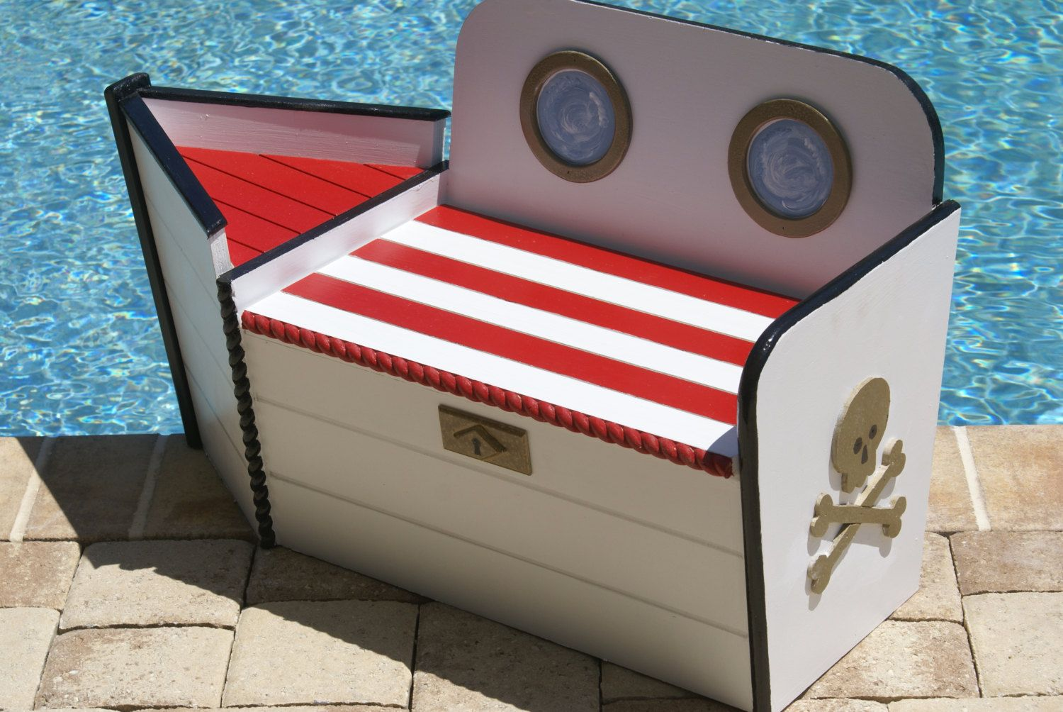 Pirate Toy Chest Wooden Toy Box Boat Shaped Wood Toy Chest Pirate Ship Toy Storage Nautical Decor Beach House Wooden Toy Boxes Wood Toy Box Wood Toy Chest