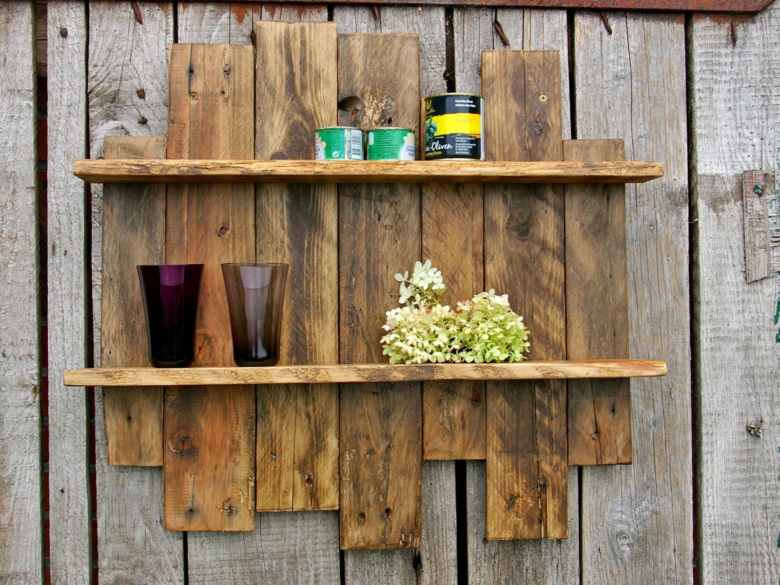 Garten Holz Regal Shelf Of Pallet Timber Wood Diy Palettenholzregal Pallet Rack