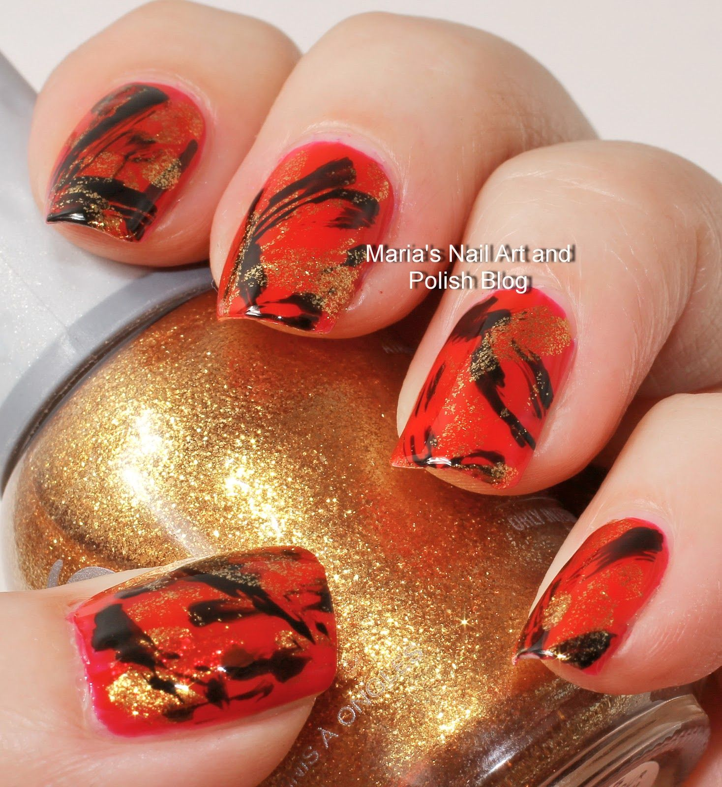 Red gold and black brush stroke nail art nail art pinterest red gold and black brush stroke nail art prinsesfo Images