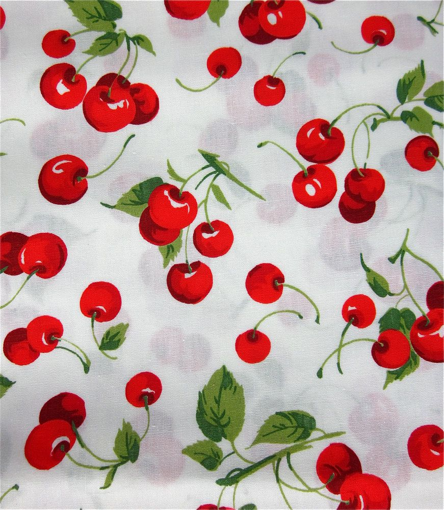 Kaufman bouffants amp broken hearts girls red fabric by the yard - Cute Cherry Fabric