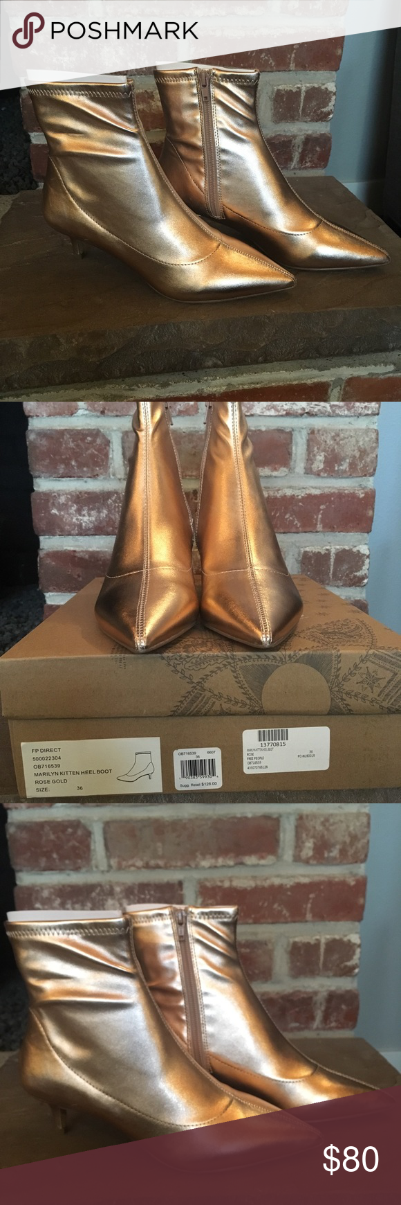 0c06a8b1aab Free People Gold Kitten Heel Booties (size 36) New in box. Never worn