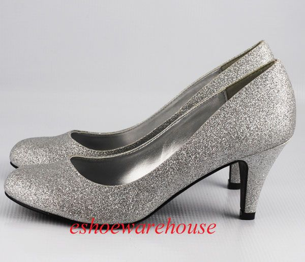 Ladies Silver Glittery Sparkly low heel slip on going out party ...