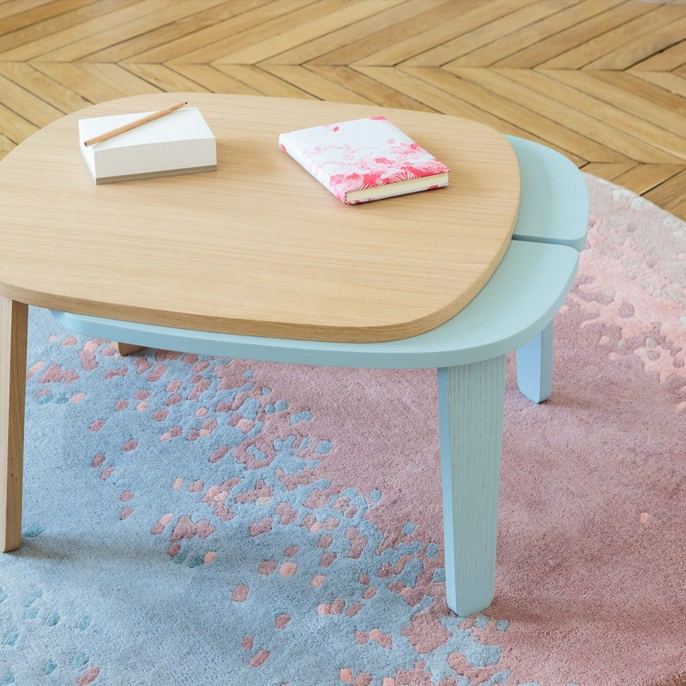 Harto Pink And Blue Layered Wool Aube Rug Product Table Basse Table Basse Peinte Table Basse Design