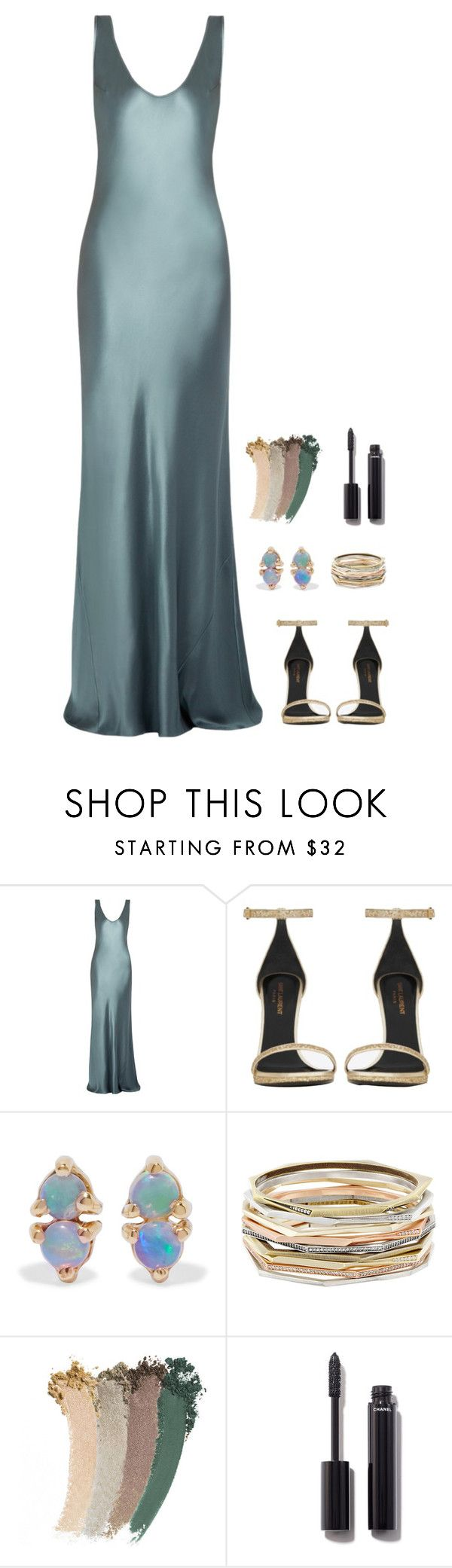 """""""Untitled #950"""" by h1234l on Polyvore featuring Galvan, Yves Saint Laurent, WWAKE, Kendra Scott, Gucci and Chanel"""