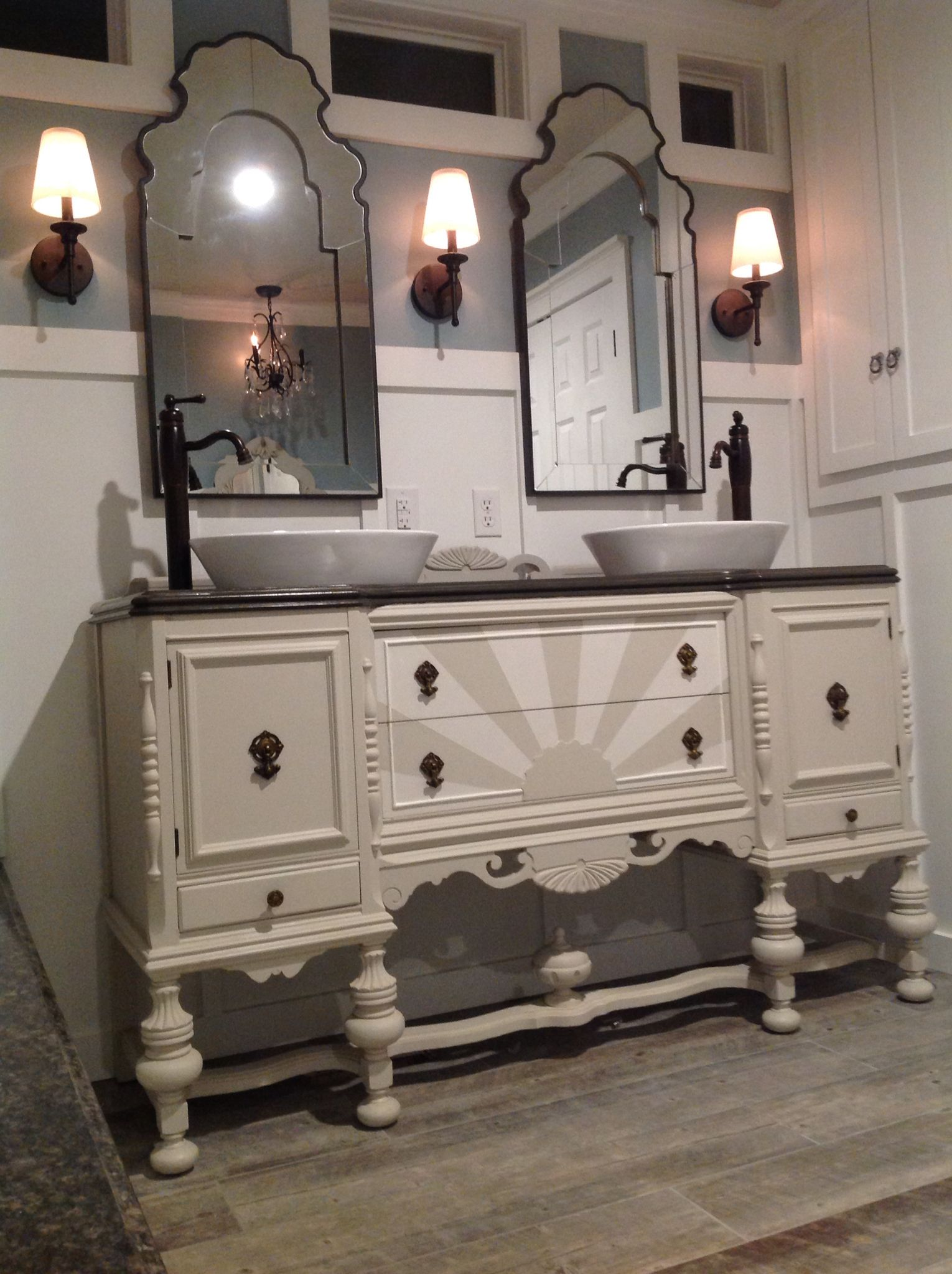 Our Antique Sideboard Buffet Repurposed Into A Bathroom Vanity By My Fabulous Hubby Bathroom Vanity Makeover Bathroom Vanity Remodel Antique Sideboard Buffet