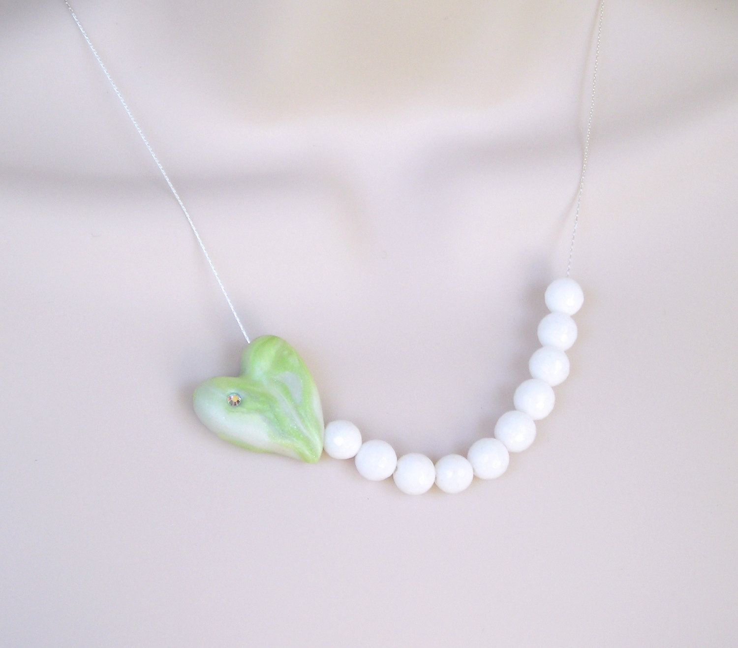 Green Clay Heart and White Beads Necklace Classic Handcrafted. $22.00, via Etsy.