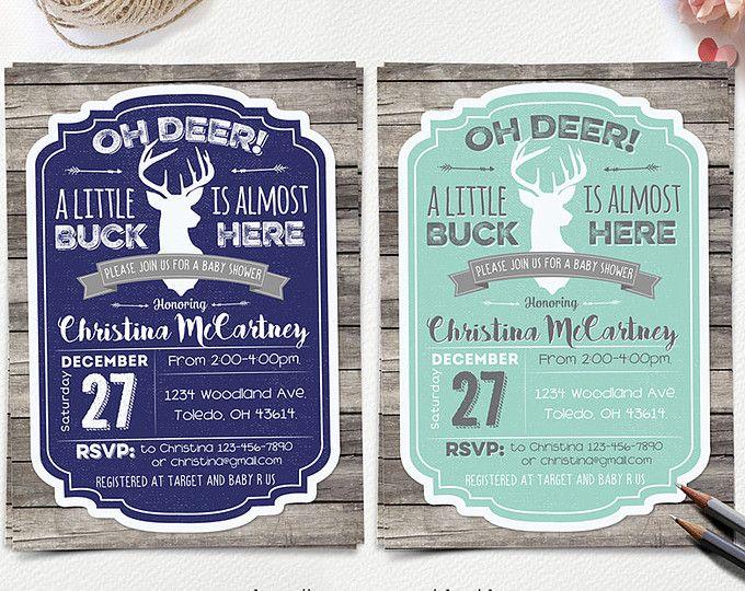 Oh Deer Baby Shower Invitation Little Deer Baby Shower Rustic Boy