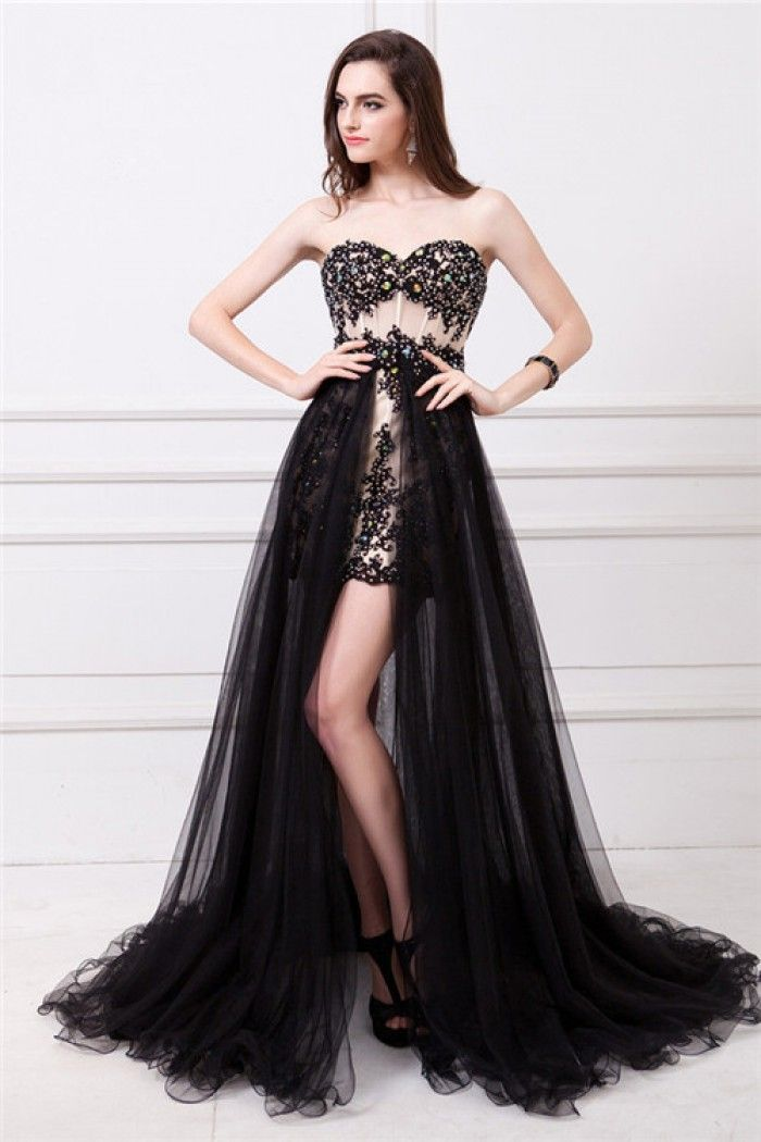 Unique Sweetheart See Through Black Lace Beaded Prom Dress Detachable Tulle Skirt