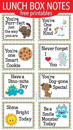 Encouraging Lunch Box Notes for Little Kids images