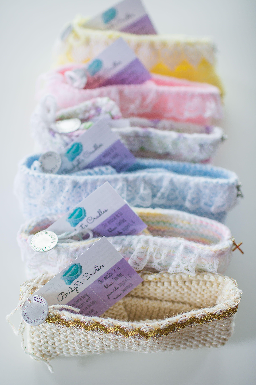 Angel Crib Knitting Pattern : Bridgets Cradles - special hand-knit/crocheted cradles for stillborn bab...