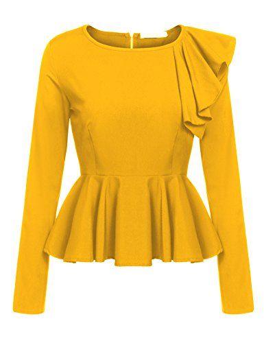 c2f6c2122c9d3 Meaneor Womens Ruffles Peplum Long Sleeve Dressy Blouse T ...