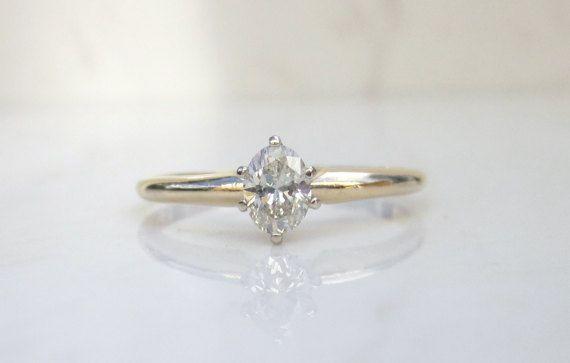 Estate 14k Solid Yellow Gold Solitaire Diamond Engagement Ring, Size 6.75 // Solitaire Engagement Ring // Solitaire Diamond Ring //