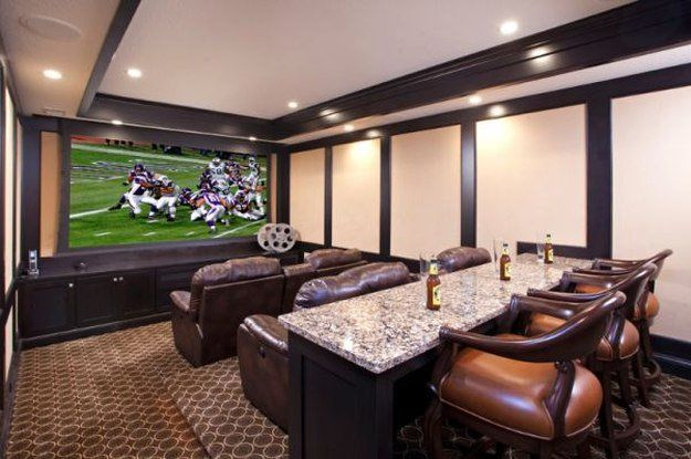 Big Screen TV In Three Level Home Entertainment Movie Room And Bar. | 10 Man Part 41