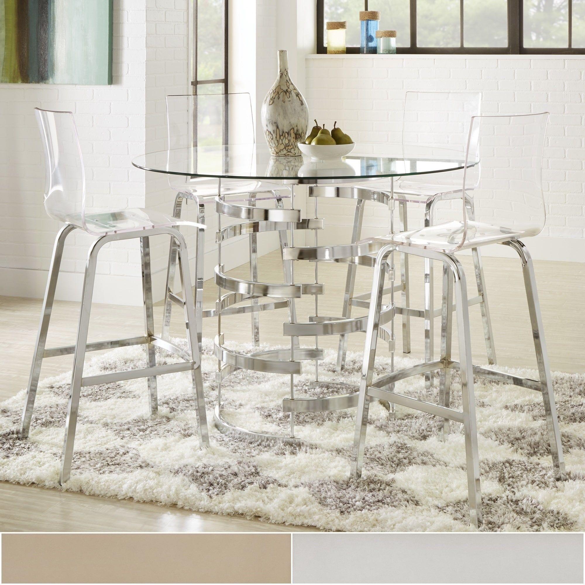 Nova Round Glass Top Vortex Iron Base 5 Piece Counter Height Dining Set By  INSPIRE