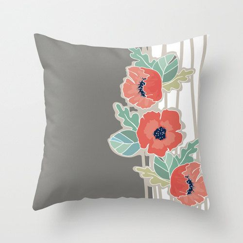 coral poppy with mint and grey popular fabric throw pillow cover case 16x16 or 18x18 or - Popular Throw Pillows