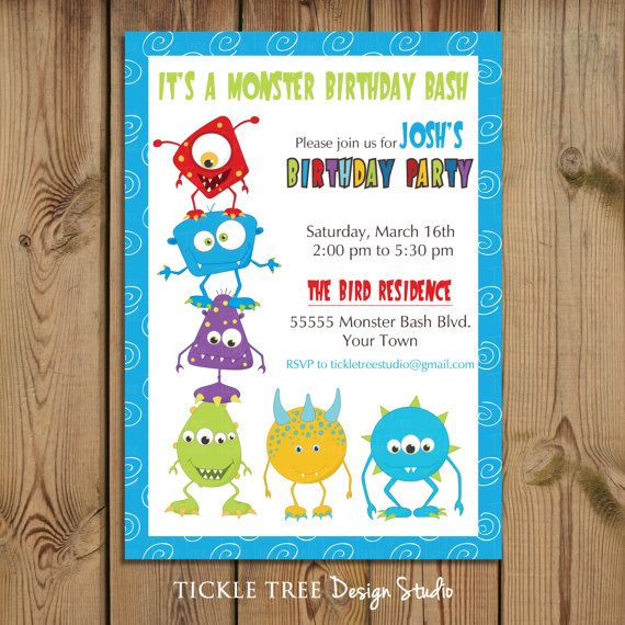 PRINTABLE Birthday Invitation - It's a Monster Bash - PERSONALIZED (Style 13151)