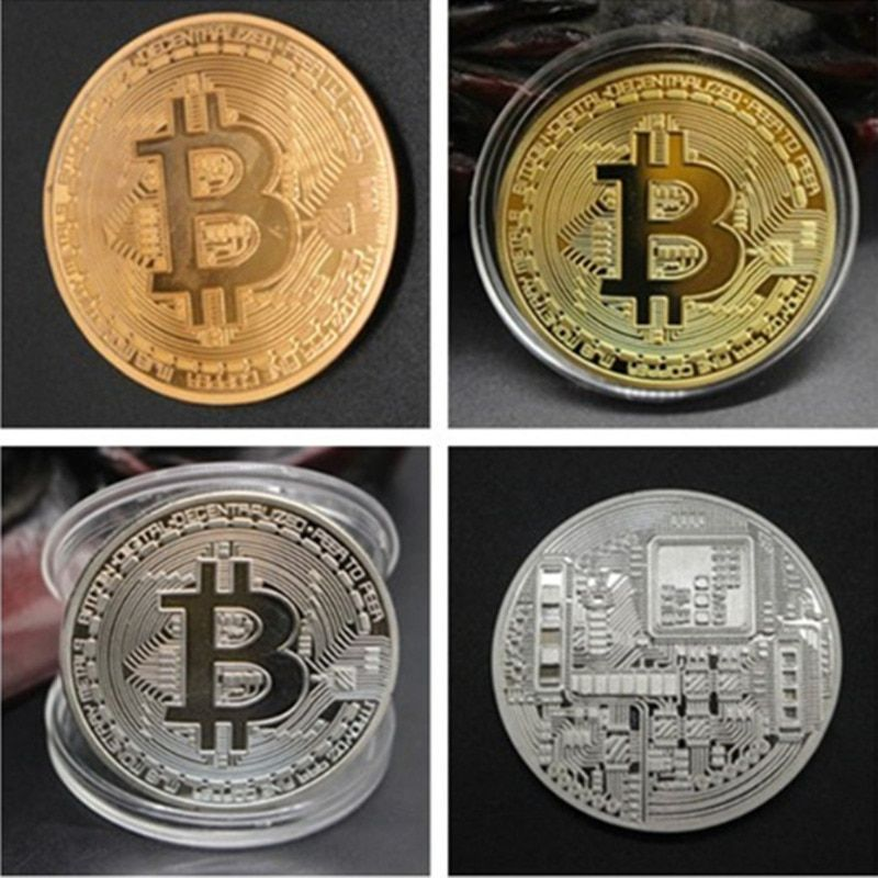 1pcs Gold Plated Bitcoin Coin Collectible Art Collection