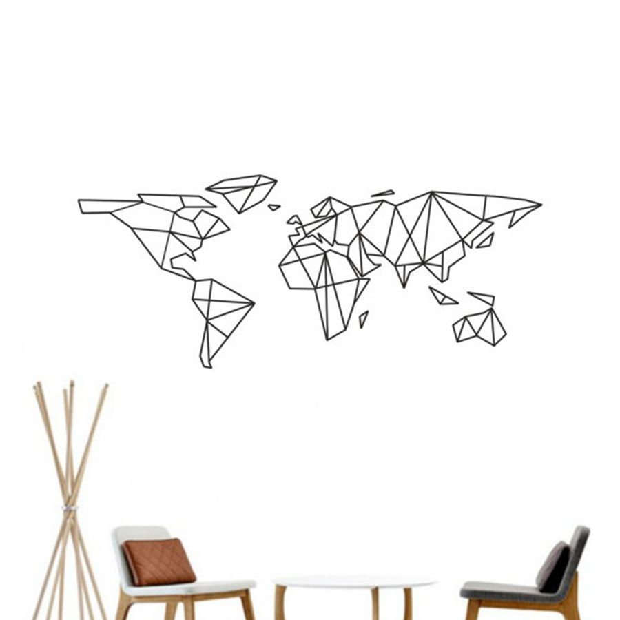 map of the world vinyl wall decal home decor geometric removable world map wall sticker. Black Bedroom Furniture Sets. Home Design Ideas