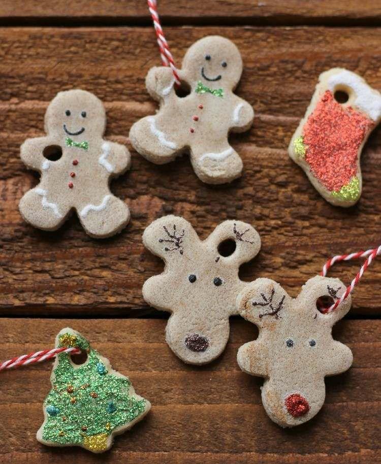 Lebkuchenmann elch und tannenbaum figuren aus salzteig weihnachten weihnachten - Weihnachtsdekoration basteln mit kindern ...