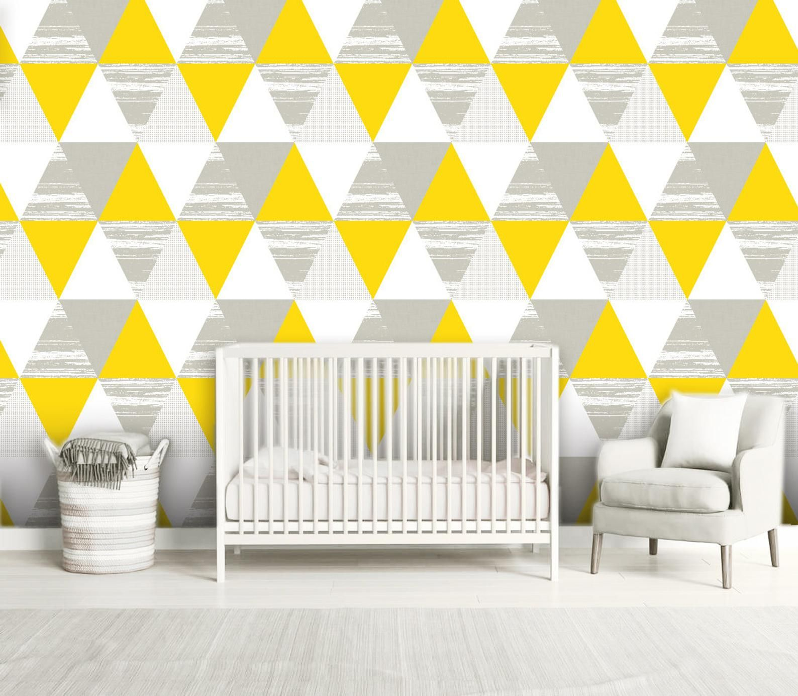 Gray Yellow Triangles Wallpaper Removable Peel And Stick Self Etsy Grey Yellow House Colors Easy Install